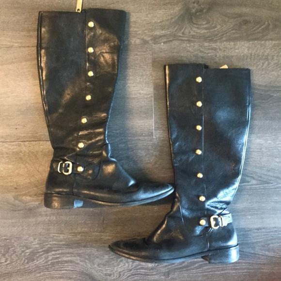 Black Michael Kors Riding Boots W Gold
